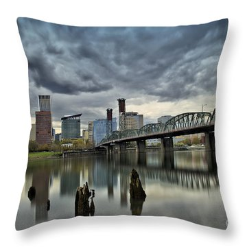 Hawthorne Bridge Across The Willamette Portland Oregon  Throw Pillow