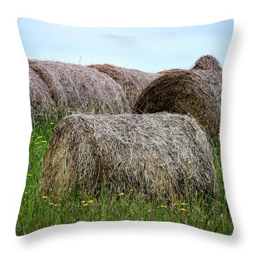 Hay Bales Among The Wildflowrs Throw Pillow