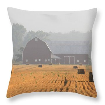 Hay Bales And Red Barn At Sunrise Throw Pillow by Jack Schultz