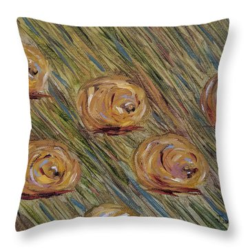 Throw Pillow featuring the painting Hay Bales by Judith Rhue