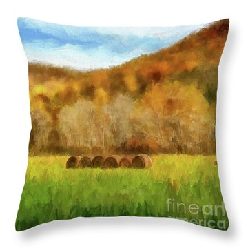 Throw Pillow featuring the photograph Hay Bales by Lois Bryan