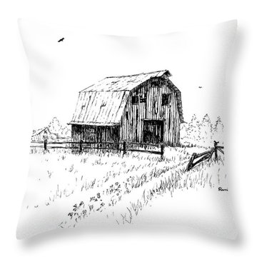 Hay Barn With Broken Gate Throw Pillow