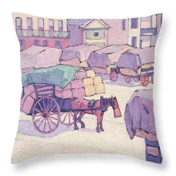 Hay Carts - Cumberland Market Throw Pillow