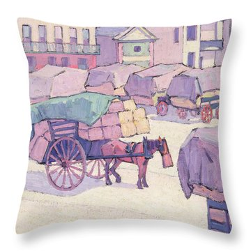 Hay Carts - Cumberland Market Throw Pillow by Robert Polhill Bevan