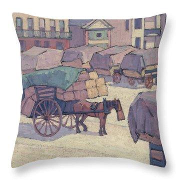 Hay Carts, Cumberland Market Throw Pillow