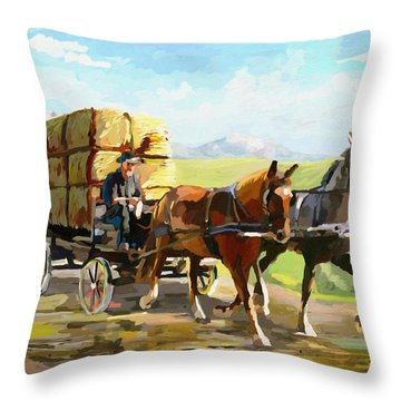 Hay Delivery Man Throw Pillow