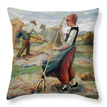 Hay Field Workers Throw Pillow