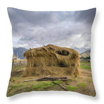 Hay Hut In Andes Throw Pillow