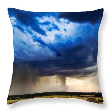 Hay In The Storm Throw Pillow