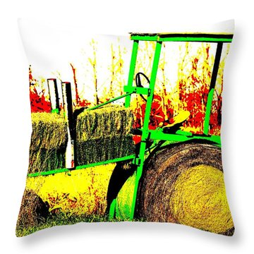 Hay It's A Tractor Throw Pillow