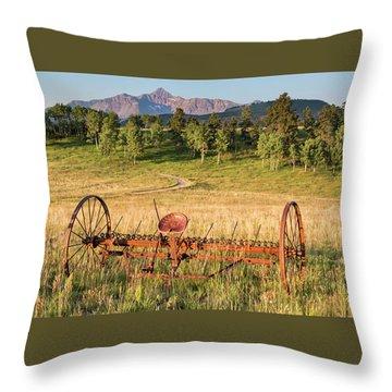 Hay Rake In Morning Sun Throw Pillow