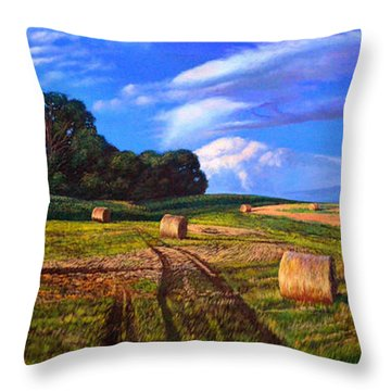 Hay Rolls On The Farm By Christopher Shellhammer Throw Pillow by Christopher Shellhammer