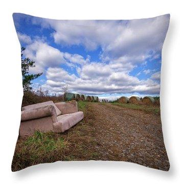 Throw Pillow featuring the photograph Hay Sofa Sky by Alan Raasch