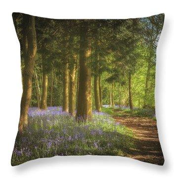 Hay Wood Bluebells Throw Pillow