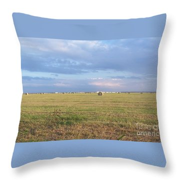 Haybales With Violet Sky Throw Pillow