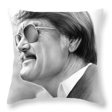 Hayden Fry Throw Pillow by Greg Joens