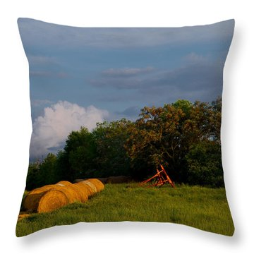 Throw Pillow featuring the photograph Haymaker Clouds by Laura Ragland