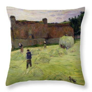 Haymaking In Brittany Throw Pillow by Paul Gauguin