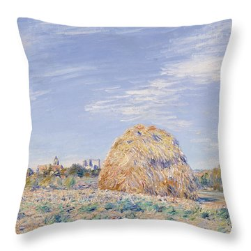 Haystack On The Banks Of The Loing Throw Pillow by Alfred Sisley
