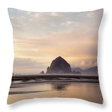 Haystack Rock After The Rain Throw Pillow