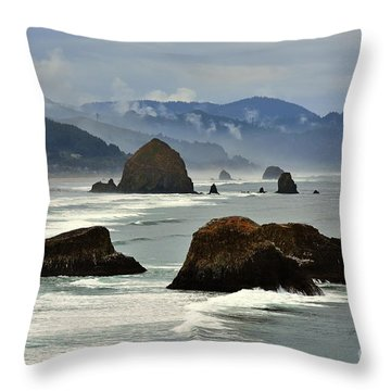 Haystack Rock-cannon Beach Throw Pillow by Scott Cameron
