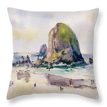 Haystack Rock, Canon Beach, Or Throw Pillow