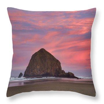 Haystack Rock- First Light Throw Pillow