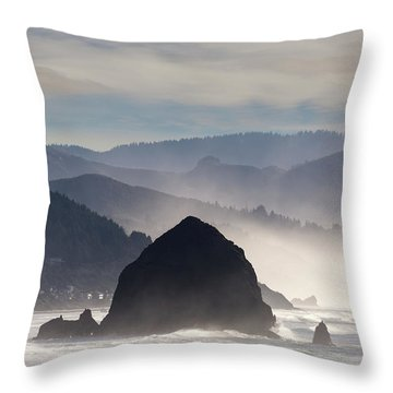 Haystack Rock On The Oregon Coast In Cannon Beach Throw Pillow