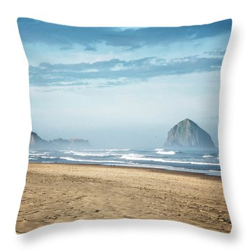 Haystack Rock Pacific City Throw Pillow