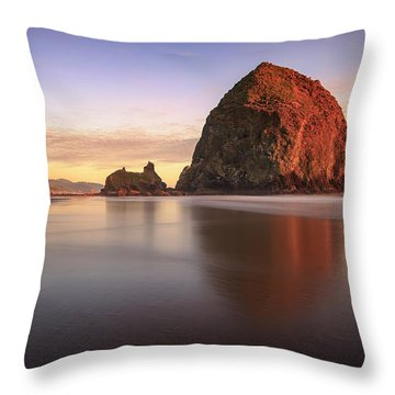 Throw Pillow featuring the photograph Haystack Rock Sunset by Adam Romanowicz