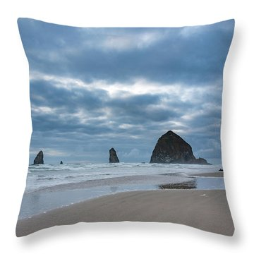 Haystack Rock, The Needles, And Cannon Beach Throw Pillow