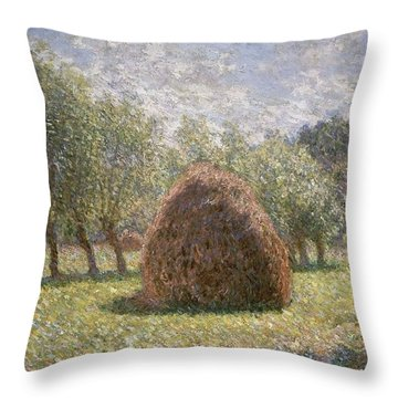 Haystacks At Giverny Throw Pillow by Claude Monet