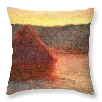 Haystacks At Sunset Throw Pillow by Claude Monet