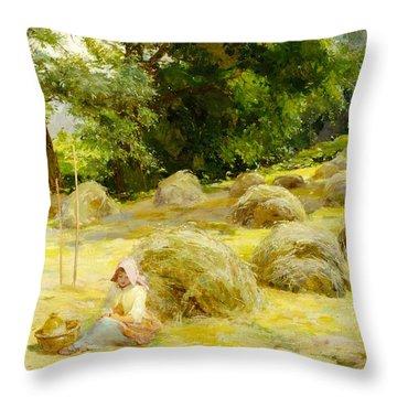 Haytime Throw Pillow by Rosa Appleton