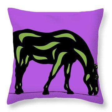 Hazel - Pop Art Horse - Black, Greenery, Purple Throw Pillow