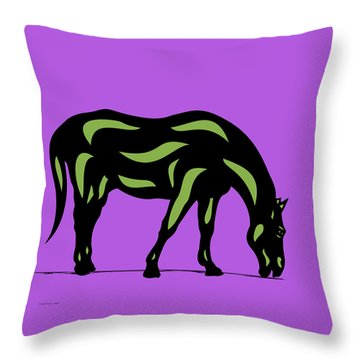 Hazel - Pop Art Horse - Black, Greenery, Purple Throw Pillow