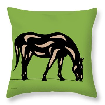 Hazel - Pop Art Horse - Black, Hazelnut, Greenery Throw Pillow