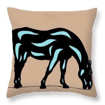 Hazel - Pop Art Horse - Black, Island Paradise Blue, Hazelnut Throw Pillow