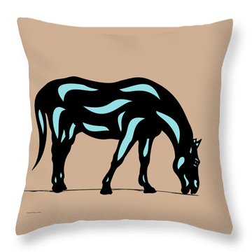 Hazel - Pop Art Horse - Black, Island Paradise Blue, Hazelnut Throw Pillow