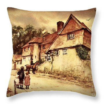 Throw Pillow featuring the digital art Hazelmere Cottage - English Lake District by Lianne Schneider