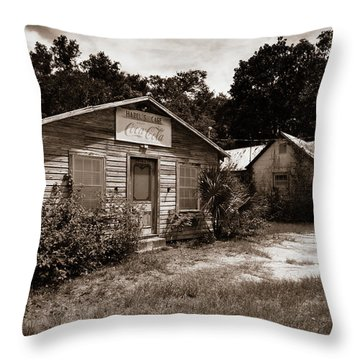 Throw Pillow featuring the photograph Hazel's Cafe by Chris Bordeleau