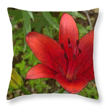 Throw Pillow featuring the digital art Hazelle's Red Lily by Jana Russon