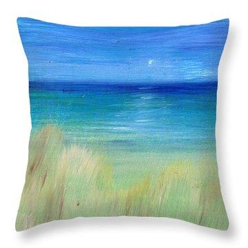 Hazy Beach Mini Oil On Masonite Throw Pillow by Regina Valluzzi