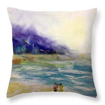 Hazy Beach Scene Throw Pillow