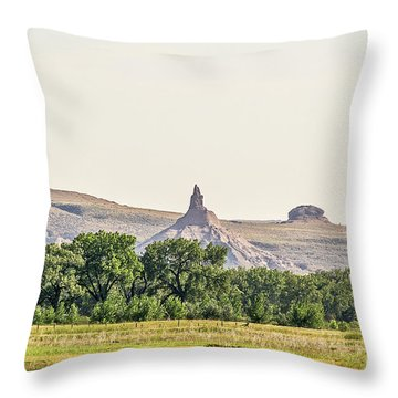 Throw Pillow featuring the photograph Hazy Chimney Rock by Sue Smith