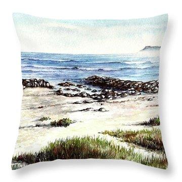 Throw Pillow featuring the painting Hazy Coastline by Heidi Kriel