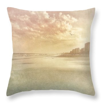 Hazy Day At The Beach Throw Pillow