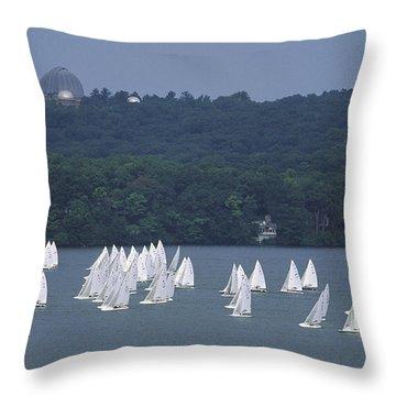 Hazy Day Regatta - Lake Geneva Wisconsin Throw Pillow
