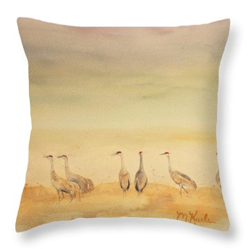 Hazy Days Cranes Throw Pillow