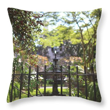 Throw Pillow featuring the photograph Hazy Garden by Heather Green